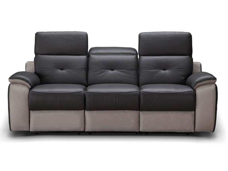 Canapé fixe relaxation électrique 3 places en tissu