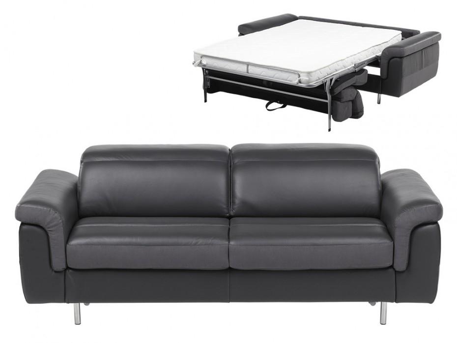 Canapé 3 places convertible bimatière en cuir et