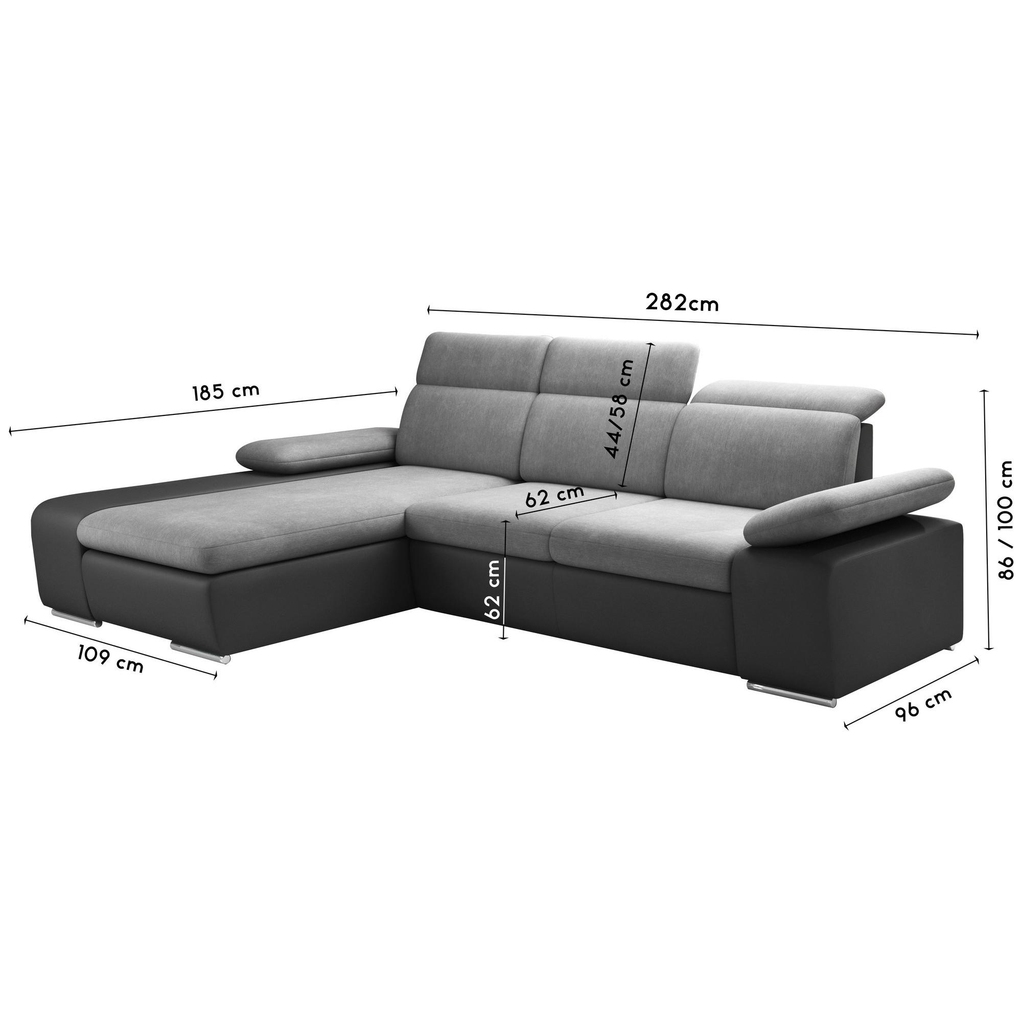 Canapé Cuir Avec Méridienne Salon Canapé D Angle Convertible Design En Tissu Gris Et