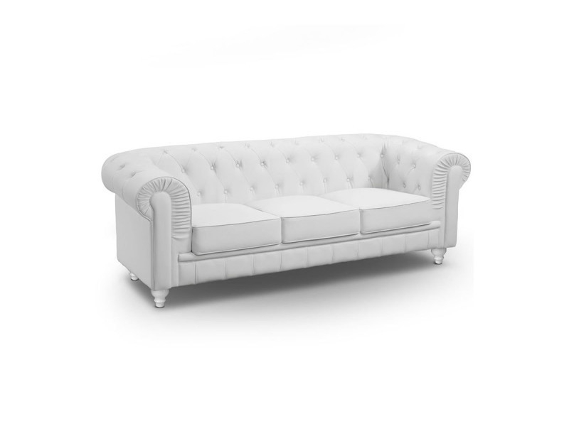 Canapé chesterfield 3 places cuir pu blanc Conforama