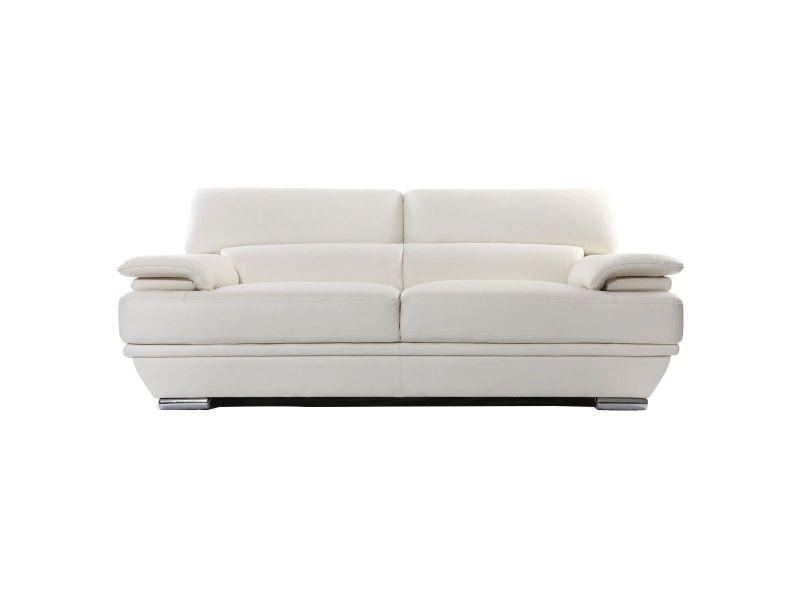 Canapé cuir design 3 places avec têtières ajustables blanc