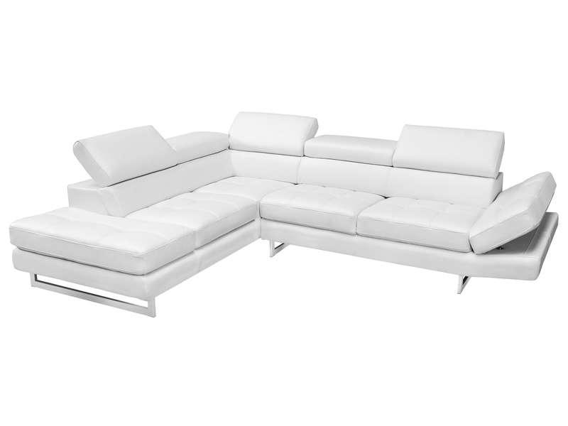 Canapé d angle fixe gauche 5 places en cuir LEMAN coloris