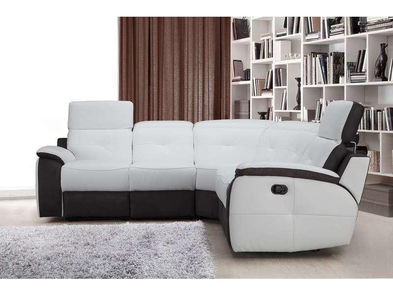 Canapé d angle relaxation électrique en cuir ORLANDO