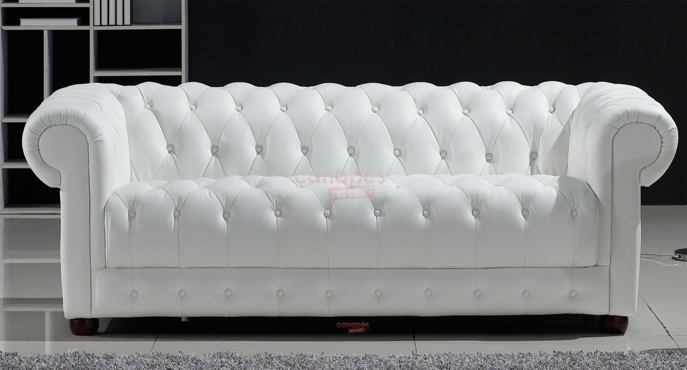 s canapé chesterfield convertible cuir blanc
