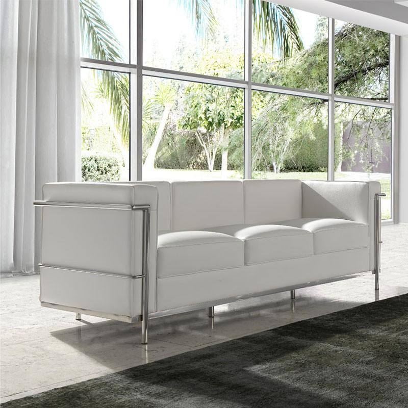 Canapé 3 places Cuir Blanc Inox Moderne Design CORBS