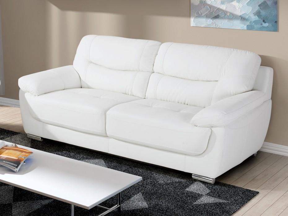 Canapé 3 places en simili pieds métal Blanc RENAUD