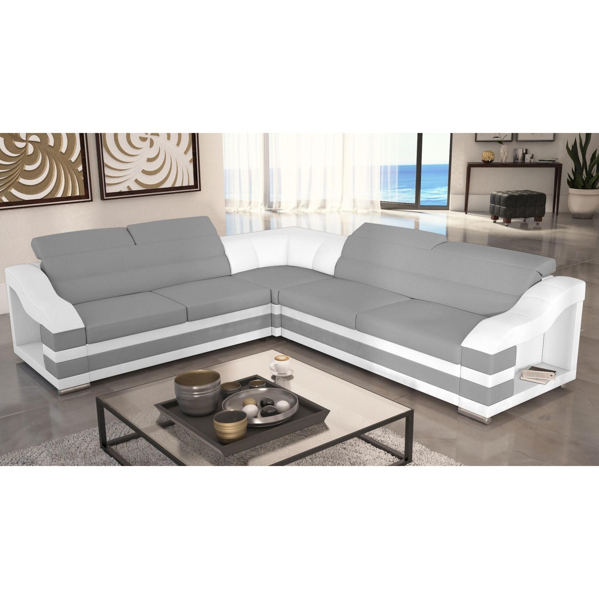 Canapé d angle gauche convertible design 5 places en cuir