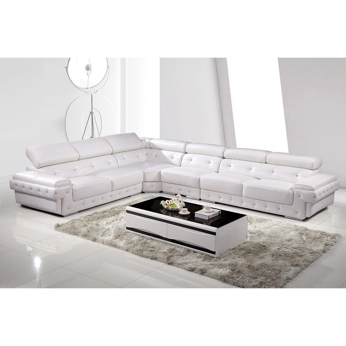 Canapés d angle design cuir véritable blanc Canapés d
