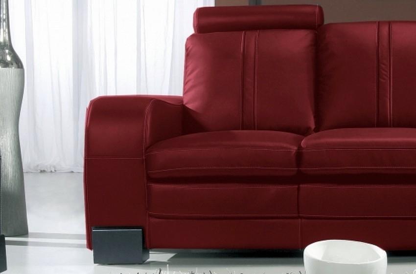 Canapé 2 places en cuir italien rosso bordeaux Mobilier