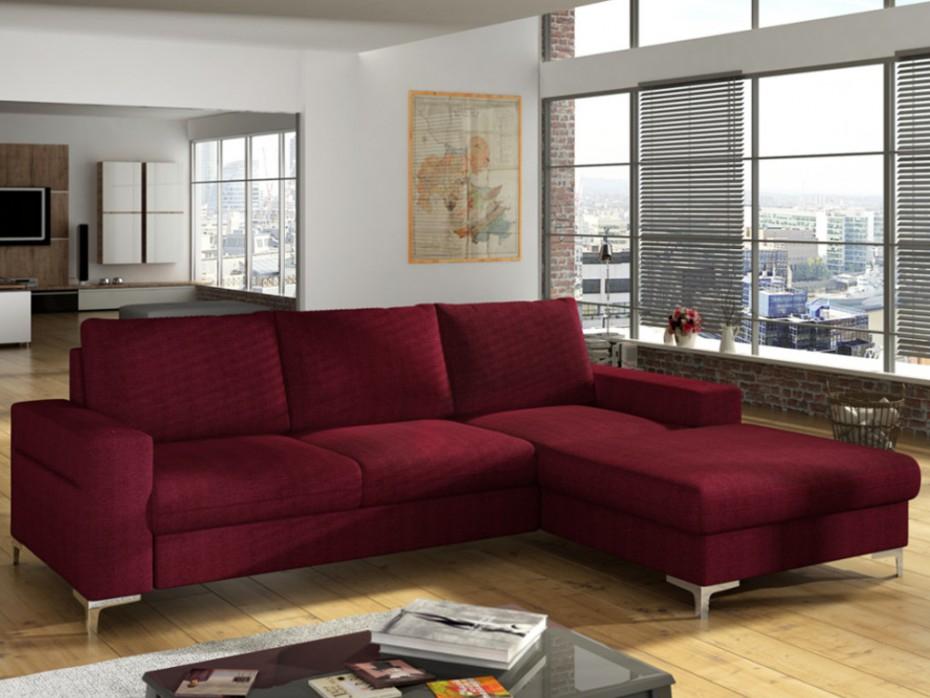 Canapé d angle convertible en tissu bordeaux ou gris CHONA