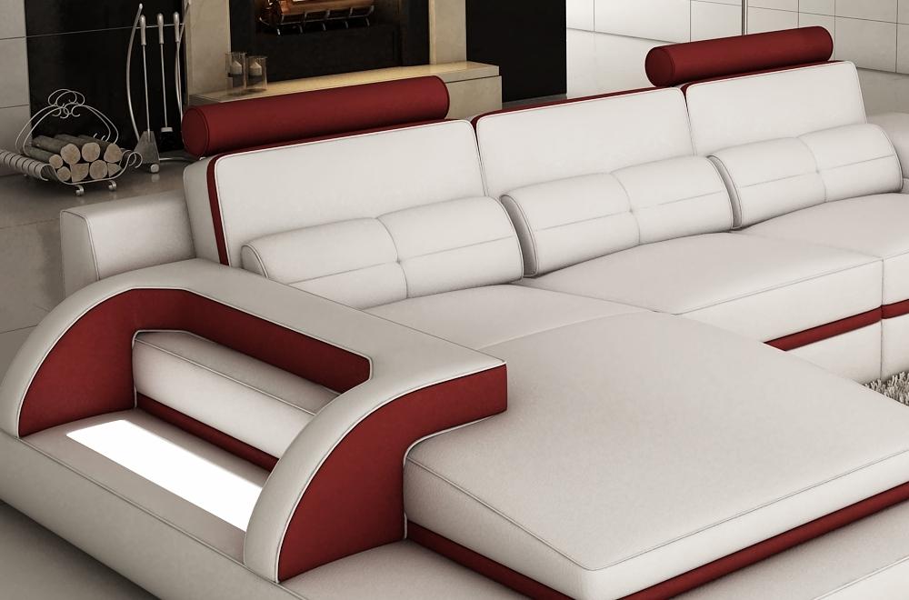 Canapé d angle en cuir italien 6 places vinoti blanc et