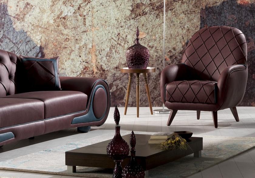 Canapé simili cuir bordeaux CENZO le Chester au coupe