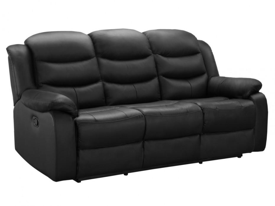 Canapé 3 places relax en cuir de buffle coloris Noir PLITON