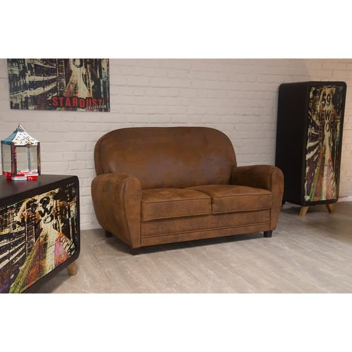 Canapé 2 places imitation vieux cuir Club Achat