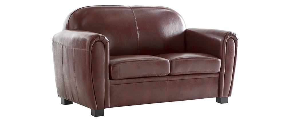 Canapé Club cuir marron clair 2 places cuir de vachette