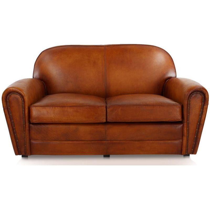 Canapé club cuir marron clair 2 places
