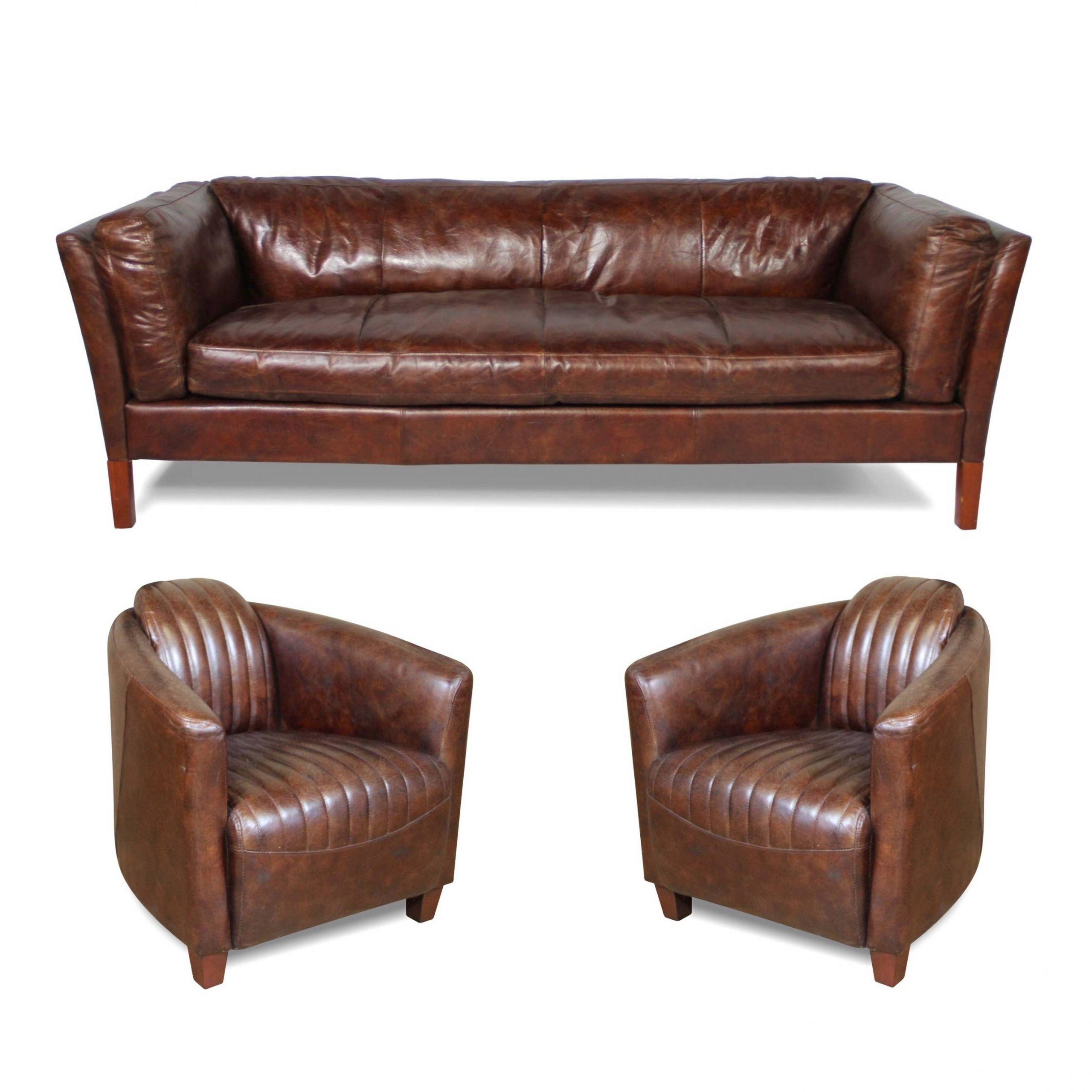 Ensemble canapé 3 places et 2 fauteuils cuir marron style
