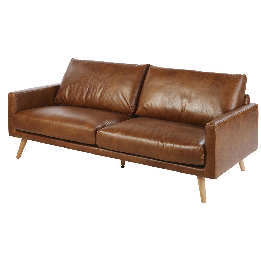 Canapé 3 places en cuir marron cognac Hooper