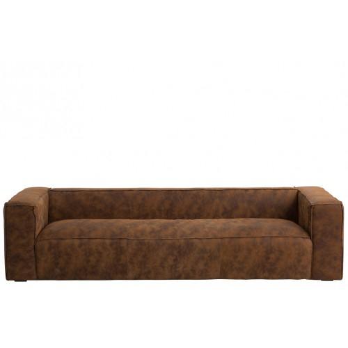 Canapé 4 places simili cuir vieilli cognac Quelqu un