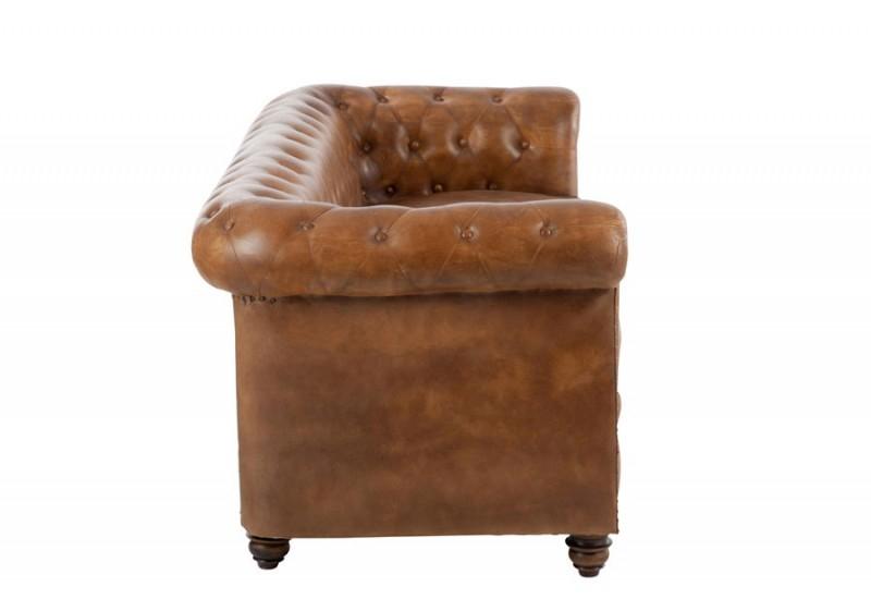 Canapé Chesterfield en cuir cognac 185x77x79cm J Line by