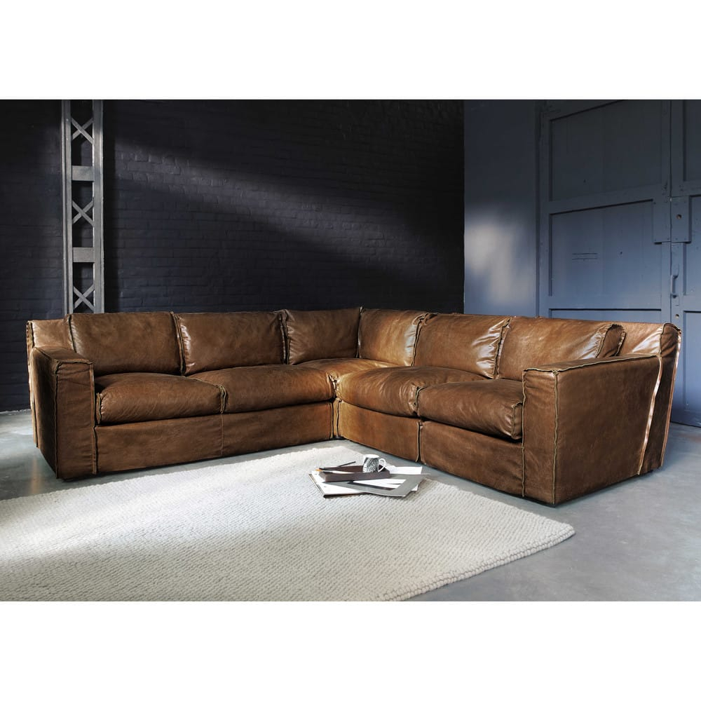 Canapé d angle vintage 4 places en cuir cognac Morrison