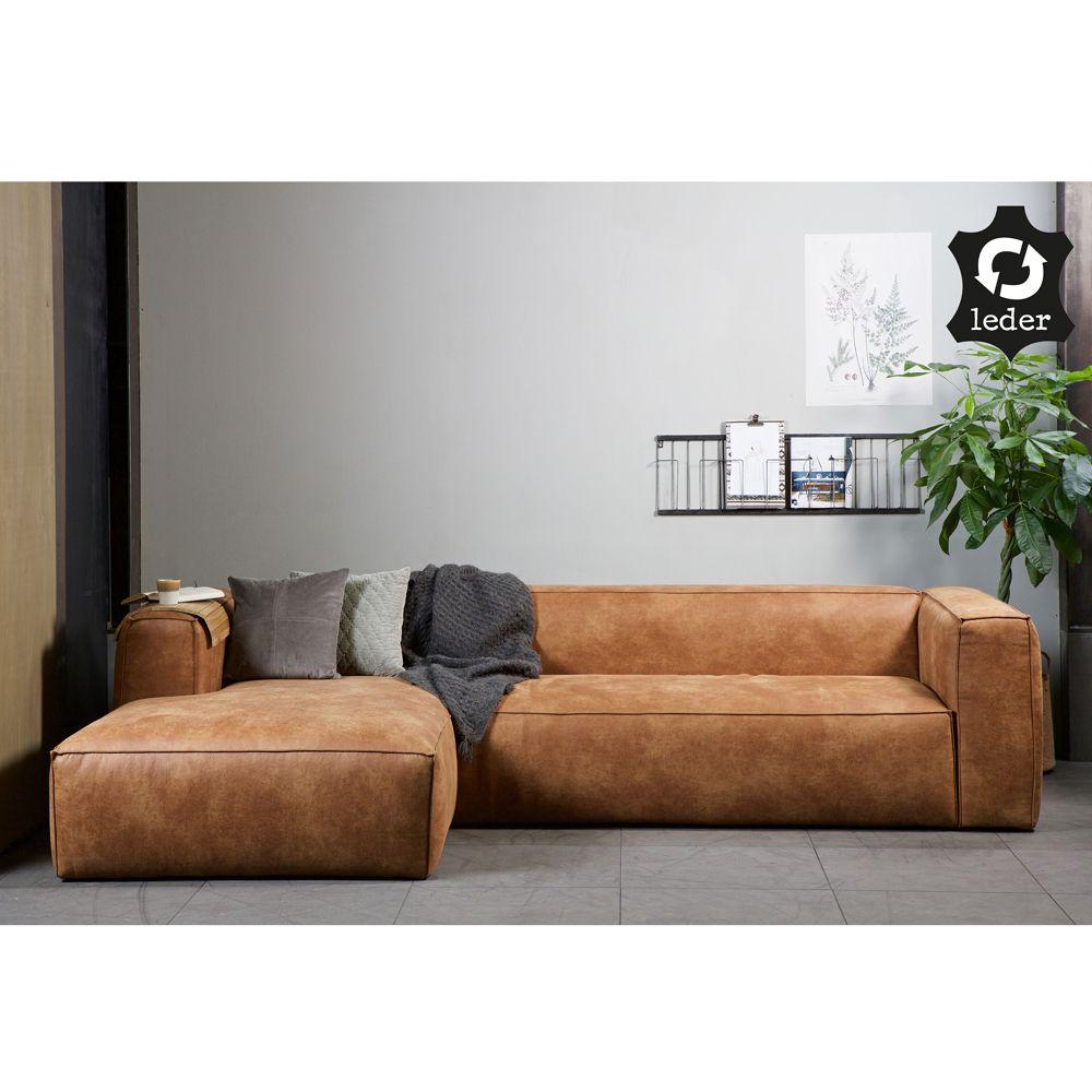Eckgarnitur BEAN Leder cognac Couch Polster Sofa Ecksofa