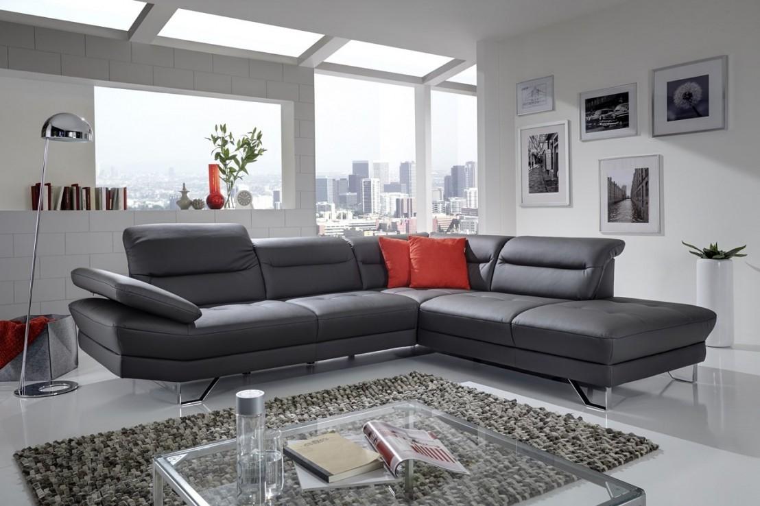 Canapé angle cuir ou tissu 5 places design AFFEC X