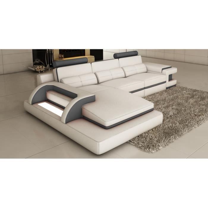 Canapé Cuir Design CanapÉ D Angle Cuir Blanc Et Gris Design Avec Lumi Achat