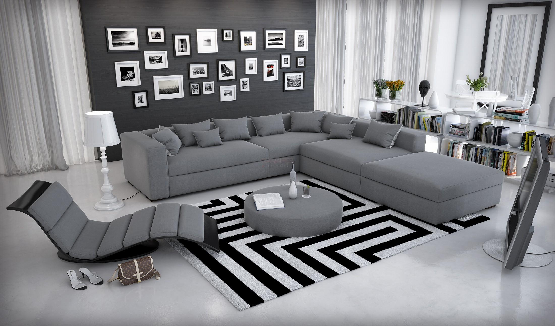 Canapé d angle cuir Modulable design et moderne BOLONIA