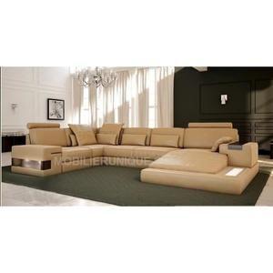 Canapé d angle panoramique design en cuir italien Achat