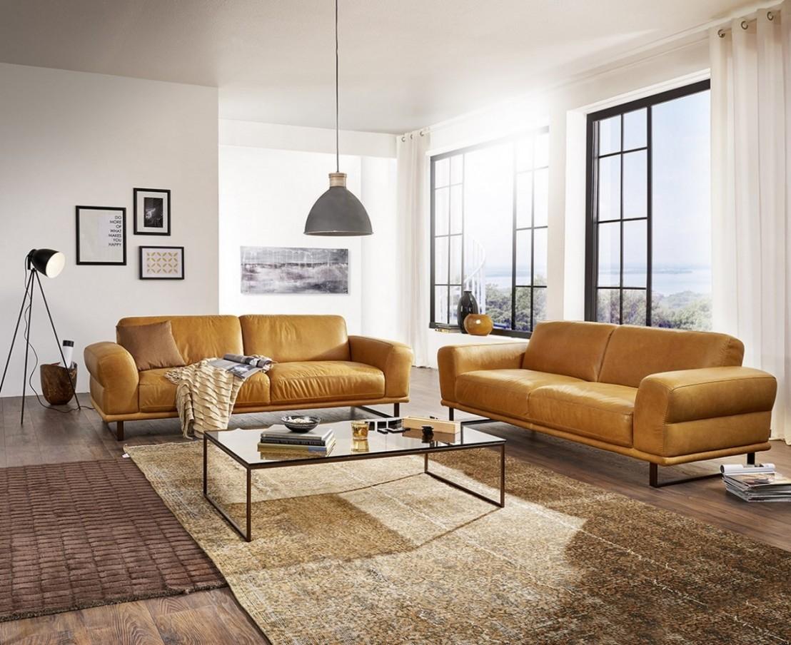 DECADE canapé design en cuir 3 places confort