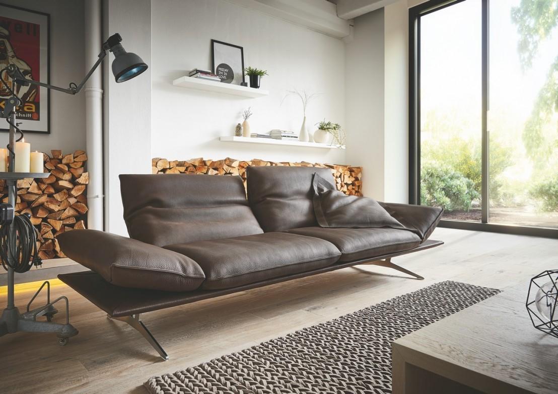 Sublime canapé design en cuir épais de taureau EVANS PM ULTRA