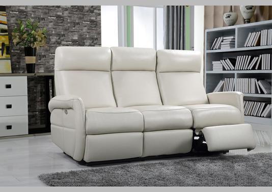 Acheter votre canapé 3 places en cuir taupe avec 2 relax