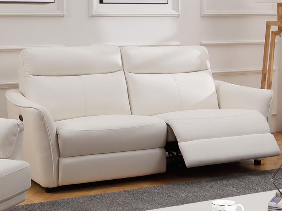Canapé 3 places relax électrique en cuir blanc WATFORD