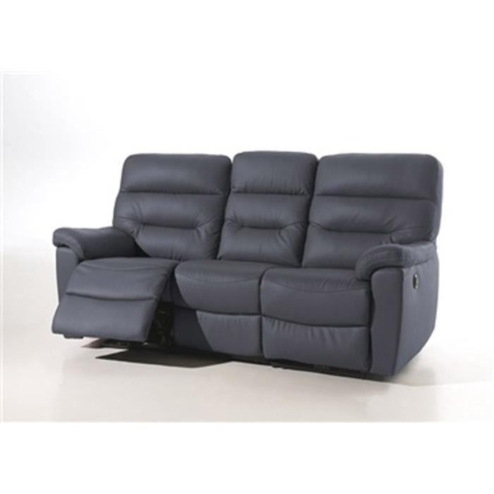 canapé 3 places relax électrique folco cuir rouge Achat