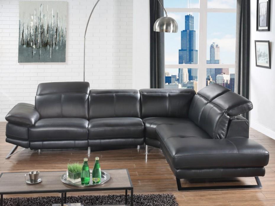 Canapé d angle relax électrique en cuir noir ou blanc PUNO