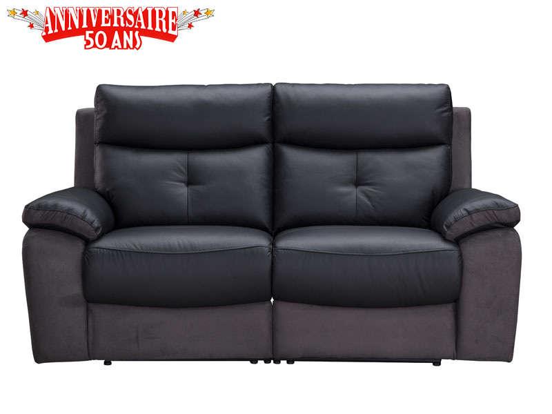 Canapé droit relaxation électrique en cuir et tissu TEDDY