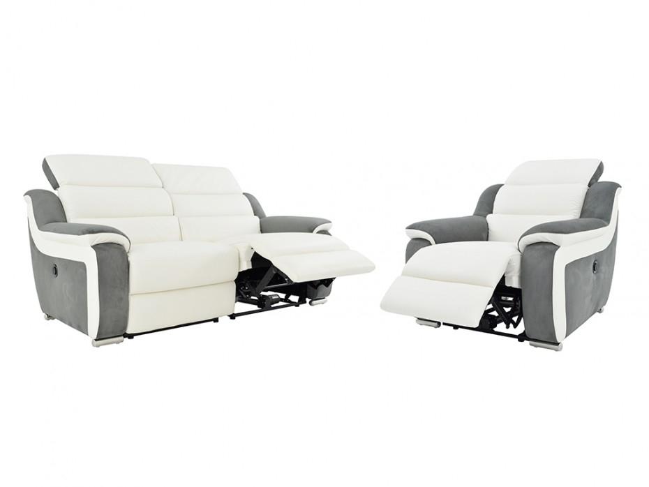 Fauteuil relax en cuir et microfibre Blanc gris ARENA II