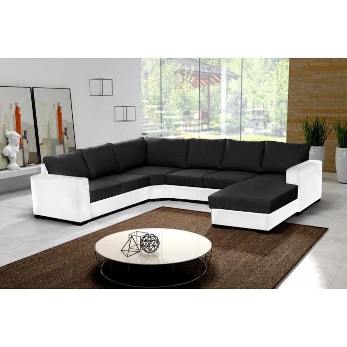 Canapé d angle 6 places OARA en U noir et blanc tissu et