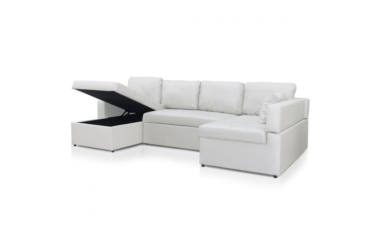 Canapé d angle en U convertible en simili cuir Emily 4