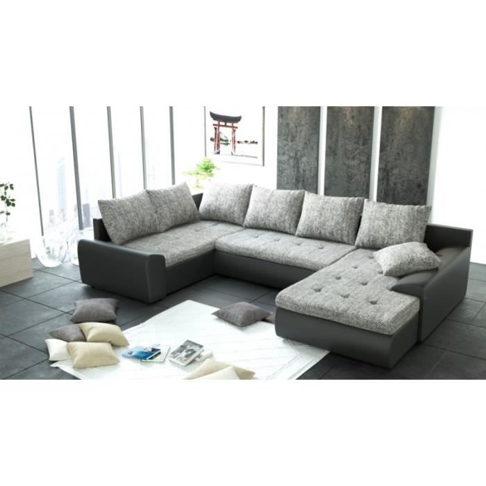Canapé d angle panoramique 6 places JOYA gris et noir PU