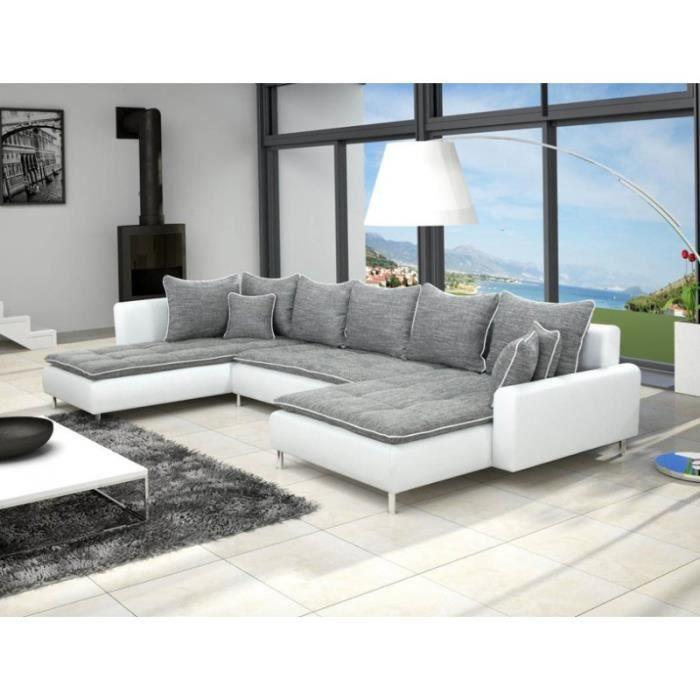 Canapé d angle panoramique en U DANTE gris 7 à 8 places