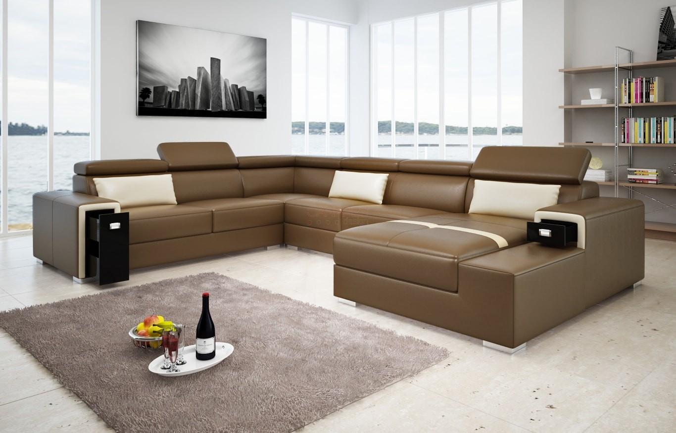 Canapé en U cuir ou tissu TURIN XL