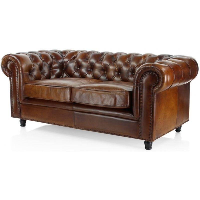 Canapé 2 places chesterfield en cuir marron vintage Saulaie