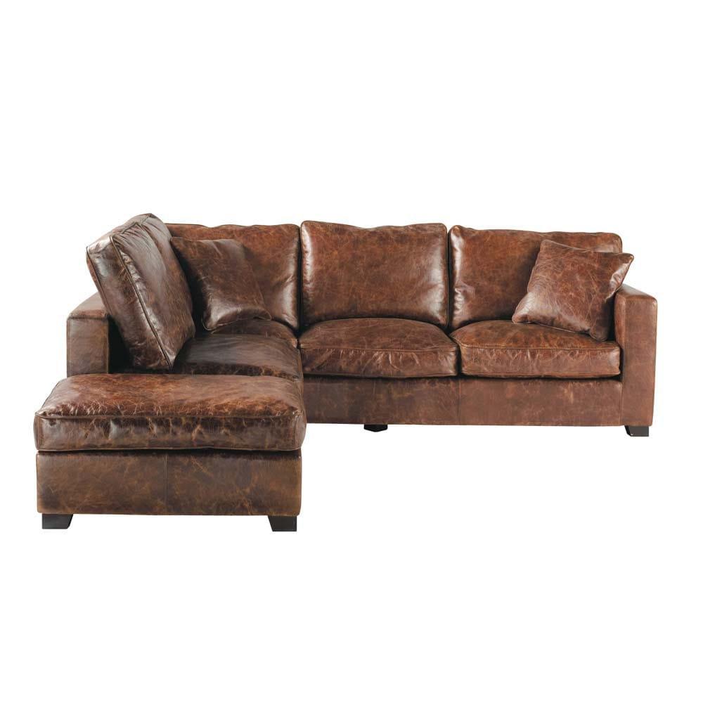 Canapé d angle 5 places en cuir marron Stanford