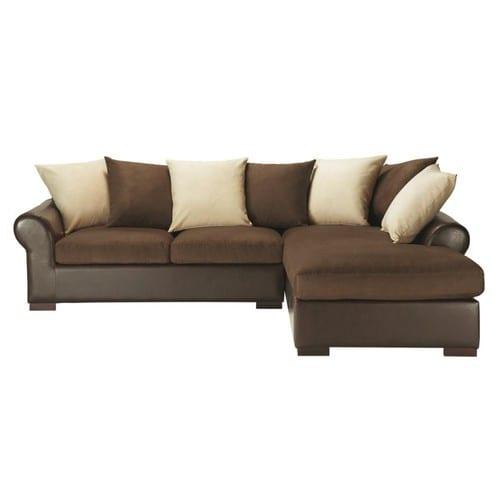 Canapé d angle convertible 5 places en tissu marron