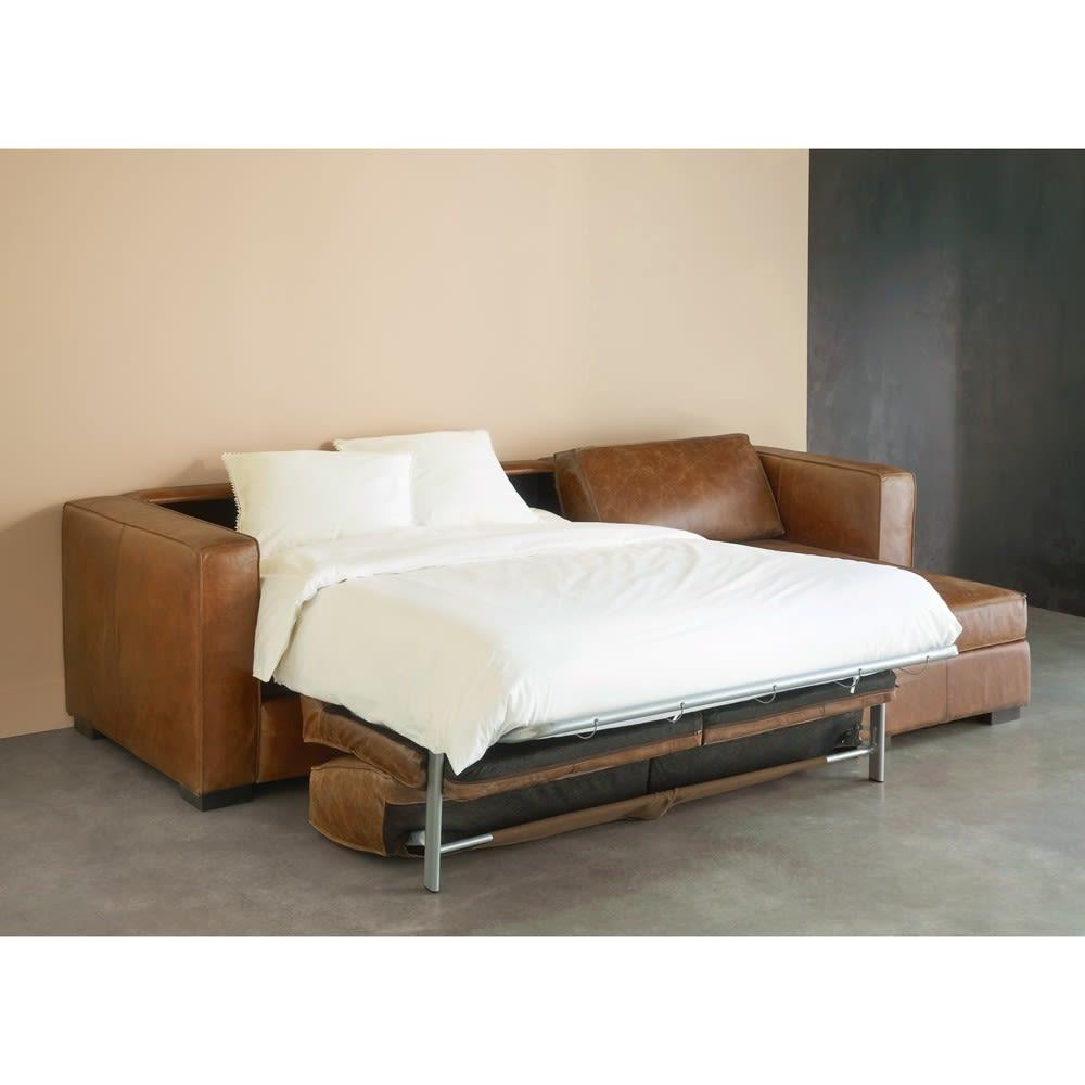 Canapé d angle droit convertible 4 places en cuir marron