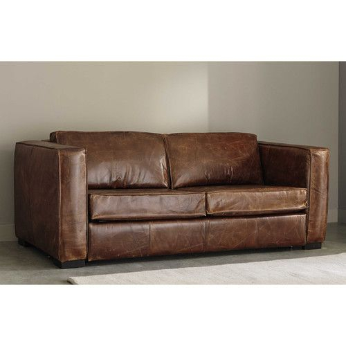 Canapé lit 3 places en cuir marron canapé