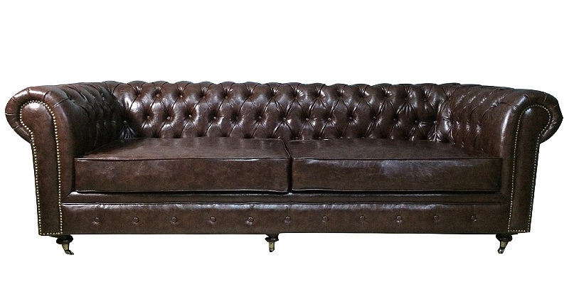 DECO IN PARIS Canape 3 places chesterfield cuir marron