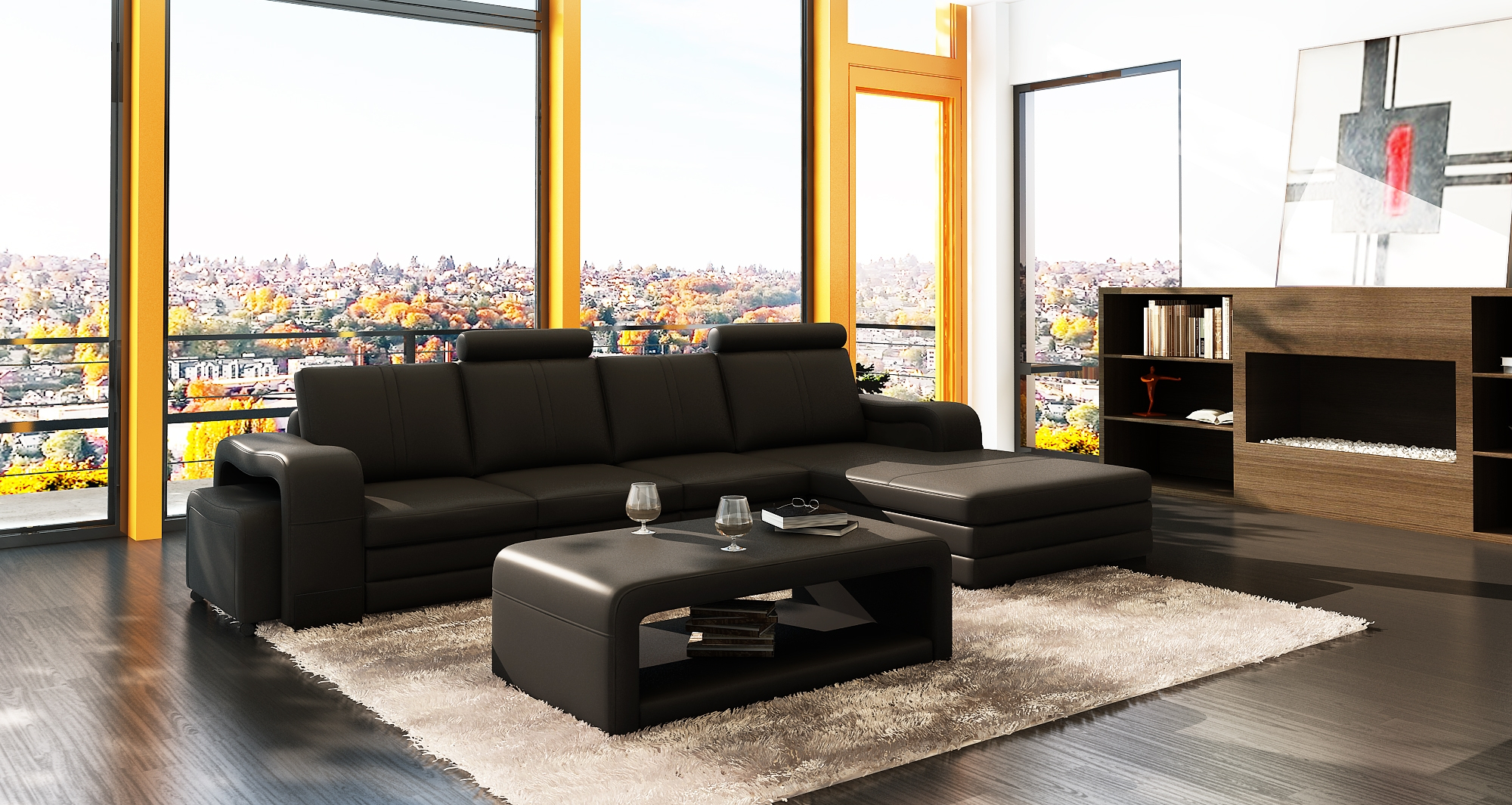 DECO IN PARIS Canape d angle meri nne noir design en